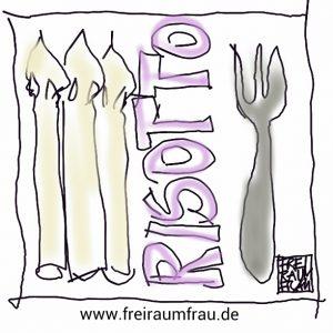 Zeichnung Spargelrisotto von der Freiraumfrau