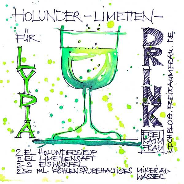Auarell und Zeichnung vom Holunder-Limettendrink