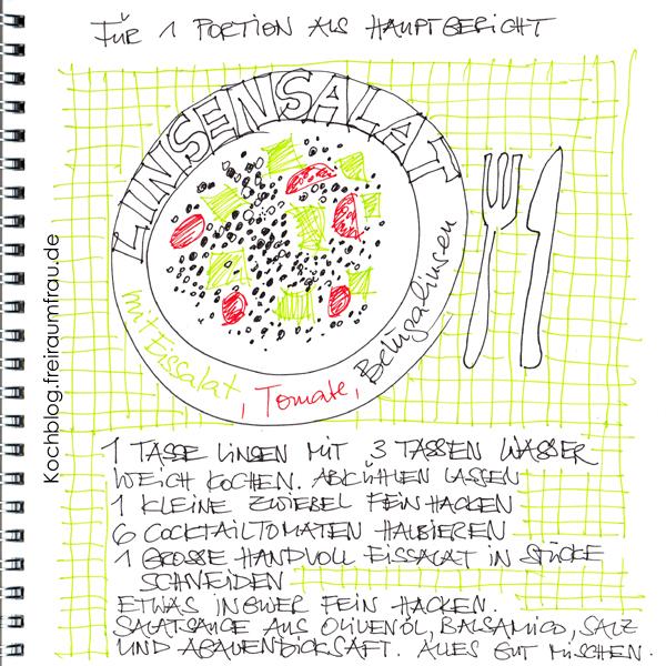 gezeichnetes Rezept für Linsensalat von Freiraumfrau